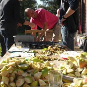 Preparing the apples for dicing